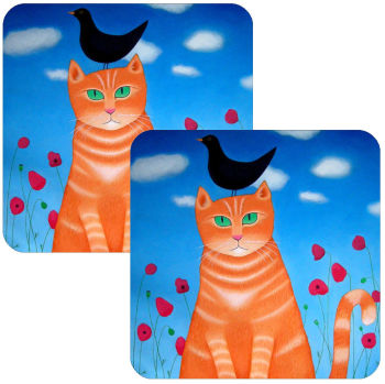 Burd? Whit Burd? Set of 2 Cat Coasters