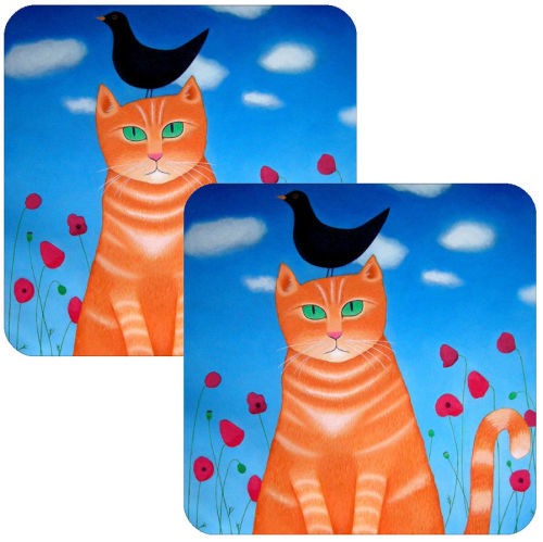 Burd? Whit Burd? Cat Coaster Set of 2