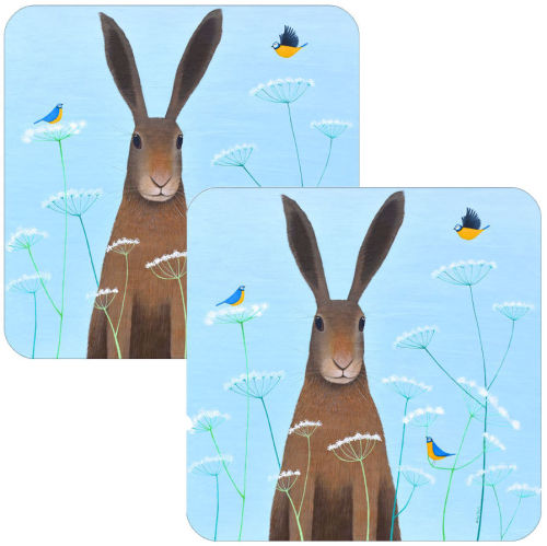 Feathered Friends Hare Coaster Set of 2