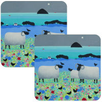 Fleecies in Flowers Black Faced Sheep Set of 2 Coasters