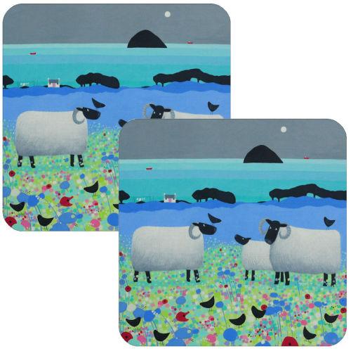 Fleecies in Flowers Black Faced Sheep Coaster Set of 2
