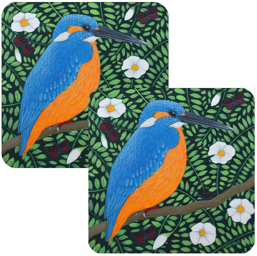 King of the Meadow Kingfisher Coaster Set of 2