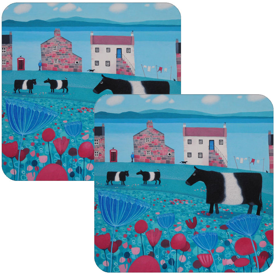 Mooching an' Mooing Set of Belted Galloway Coaster Set of 2