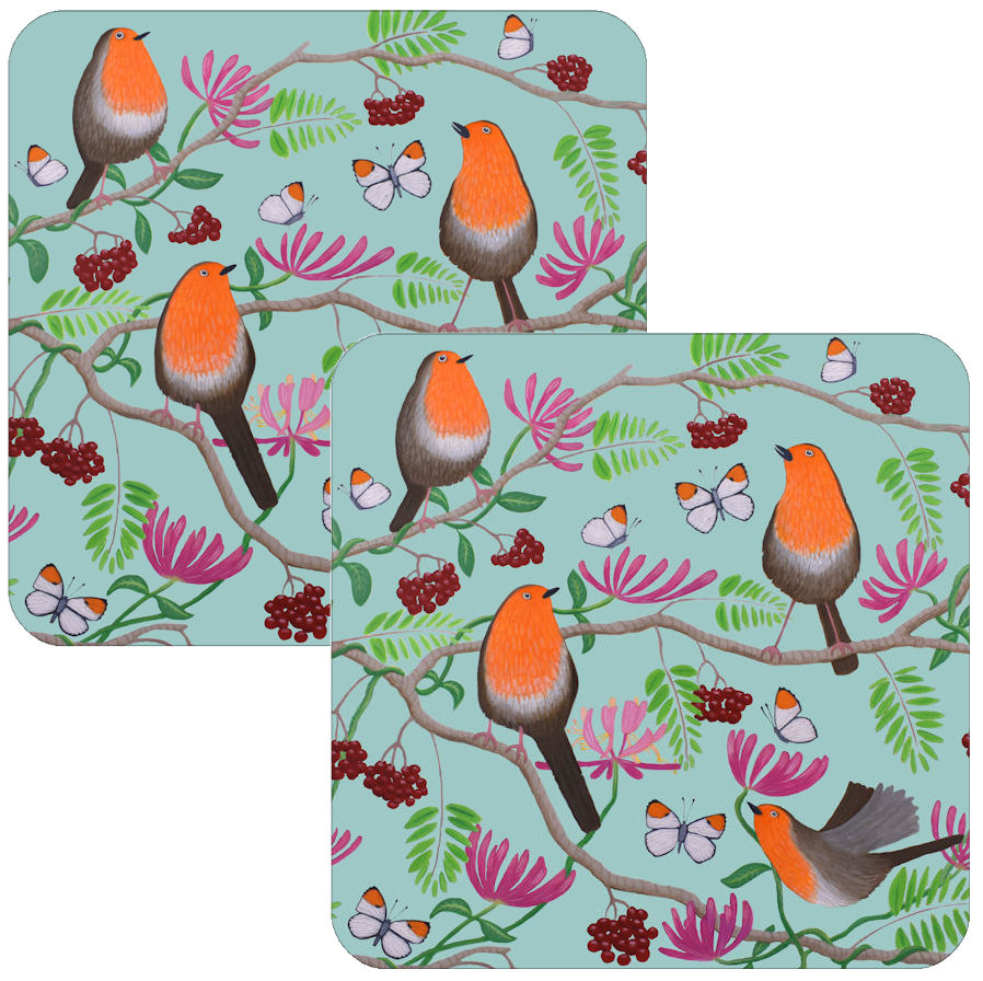 Orange Delights Robins Coaster Set of 2