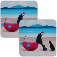 Pep Talk Set of 2 Man and Dog Coasters