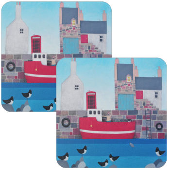 Setting Sail Coastal Village Set of 2 Coasters