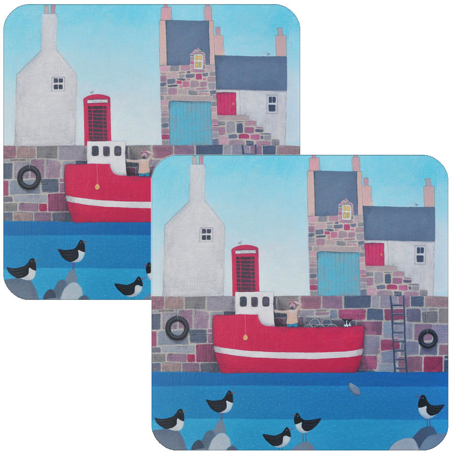 Setting Sail Coastal Village Coaster Set of 2