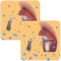 Squirrel Offering Set of 2 Coasters