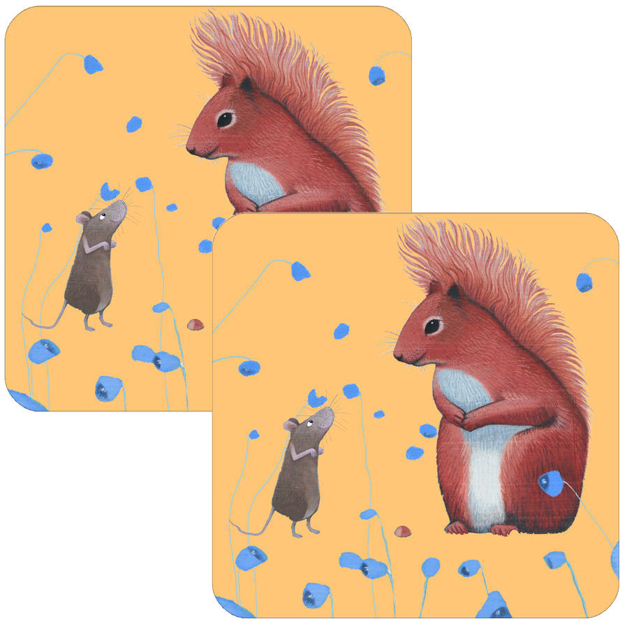 Squirrel Offering Coaster Set of 2