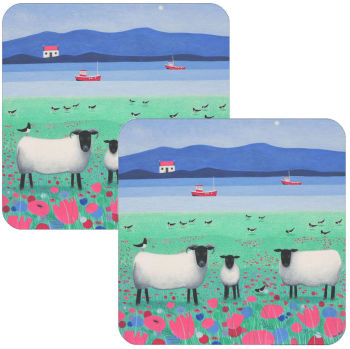 Woollit Wanderers Black Faced Sheep Set of 2 Coasters