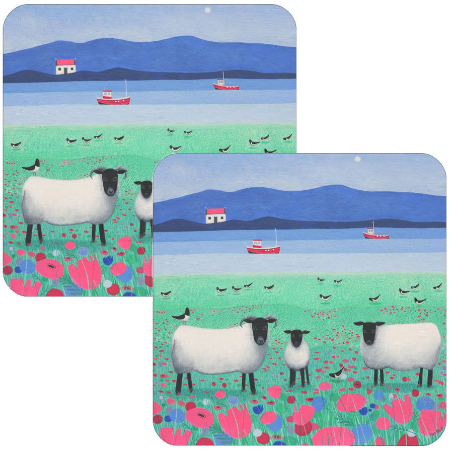 Woollit Wanderers Black Faced Sheep Coaster Set of 2