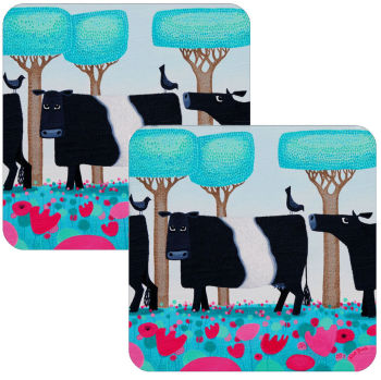 Udderly Charming Set of 2 Belted Galloway Coasters