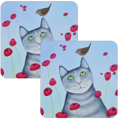 Cat and Poppies Set of 2 coasters