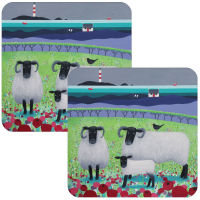 """Highland Fleecies"" Set of 2 Black Faced Sheep Coasters"