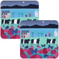"""Flutterbies and Beltie""s Set of 2 Belted Galloway Cow Placemats"