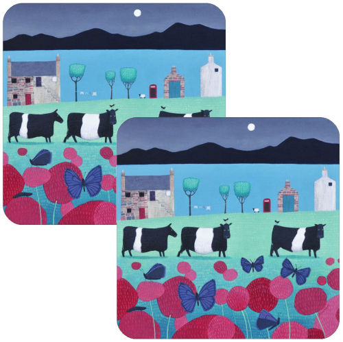 Flutterbies and Belties Set of 2 Belted Galloway Cow Placemats