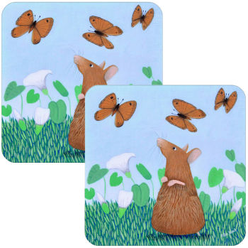 Mousie Capers Set of 2 Mouse and Butterfly Placemats