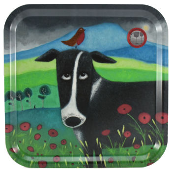 """Burd on the Bonce"" Collie Dog Pressed Birch Wood Tray"