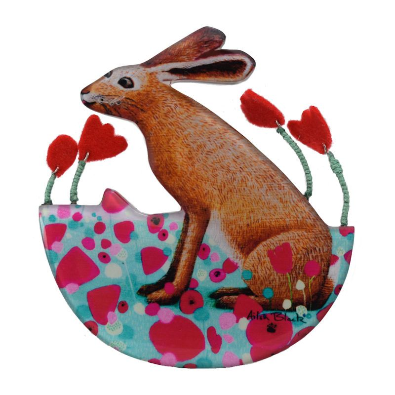 hare brooch cut out flat