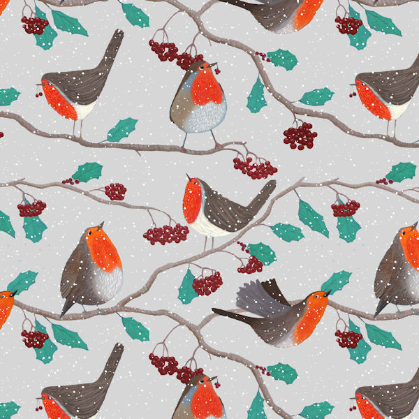 snowy robin repeat pattern on light grey