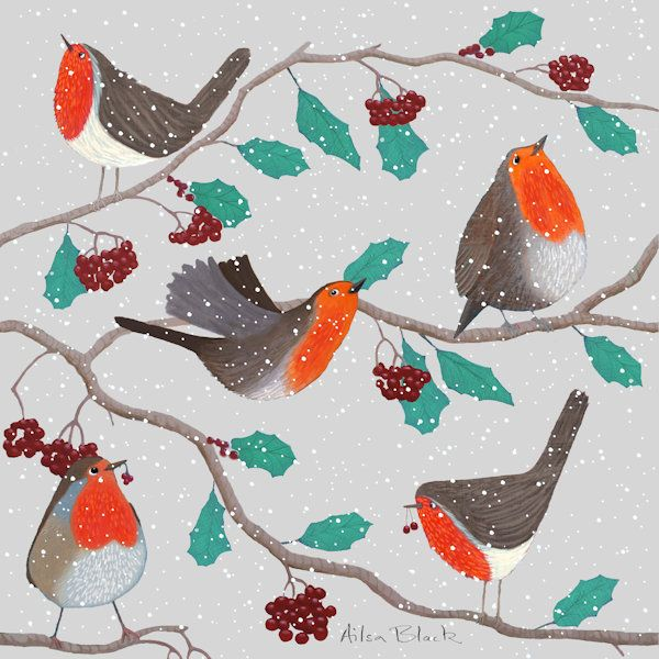A group of robins on holly branches in the snow in this painting by a Scottish Artist.