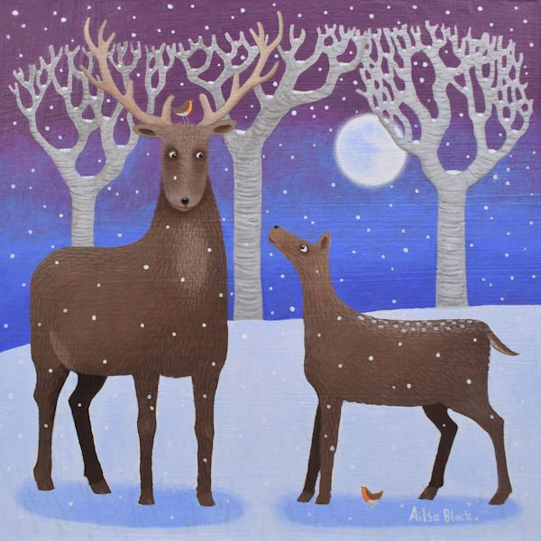 A painting of red deer in the snow in Scotland.