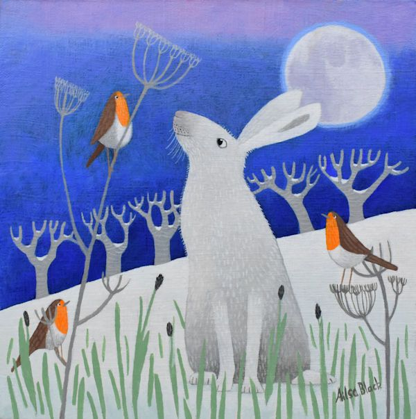 An illustration and painting of a mountain hare and robins in Scotland.