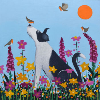 """Bestie to the Birdies"" mini collie and robin print"
