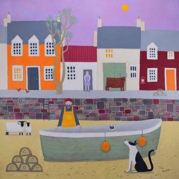 """Dandie Mannie"" coastal mini print of Plockton with boat, couple and dog"