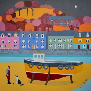 """Penny Dog"" mini print of the village of Portree on Skye"