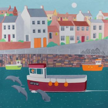 """Puffies"" medium print of the fishing village of Crail with dolphins"