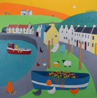 """Setting Off"" a mini print of the village of Pennan in Scotland in summer"