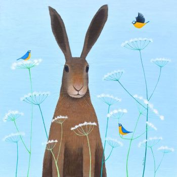 """Feathered Friends"" large hare and bluetit print"