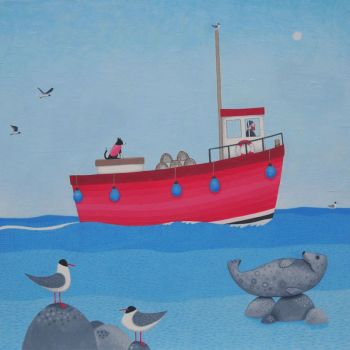 """Salty Seadogs"" Large print with a fishing boat"