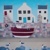 """Tide's Oot"" Large coastal village giclee print"
