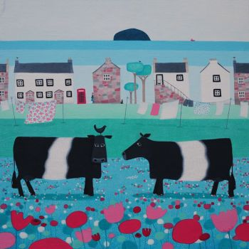 """Where's the Birdie?"" Large print with Belted Galloway cows"