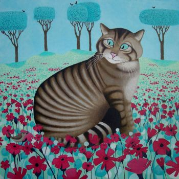 """Wonderful Wildcat"" Wildcat in flowers medium print raising money for Scottish Wildcat Action"