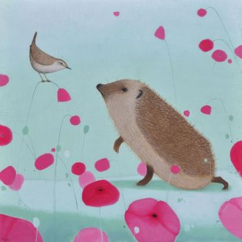 """Audience with a Wren"" Hedgehog and wren medium giclee animal print"