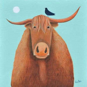 """Broon Coo"" Highland Cow medium size art print"