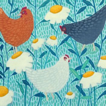 """Chickens"" and daisies medium print"