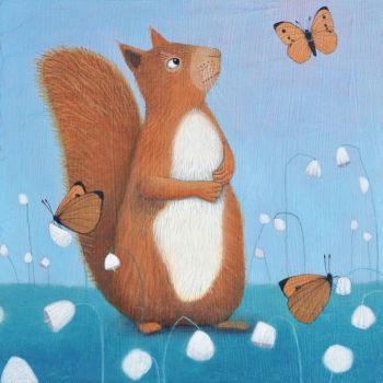 """Curiosity"" Red squirrel medium art print with butterflies"
