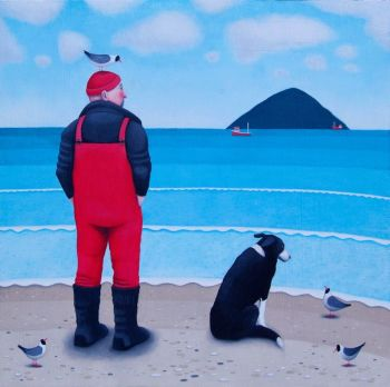 """High Expectations"" Man and collie dog on the beach medium giclee print"