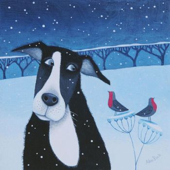 """Hoo Many Snowflakes?"" Medium print of a collie and robins in the snow"