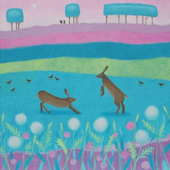 """Hoppity Hickertie"" Medium print of hares in a field of flowers"