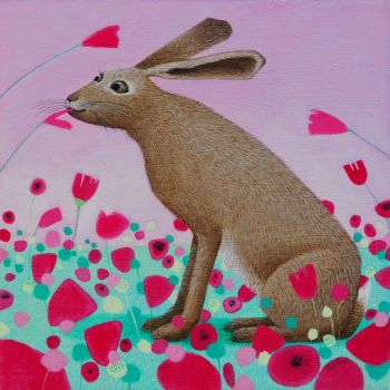 """Hoppity Poppity"" Hare and poppies medium giclee print"