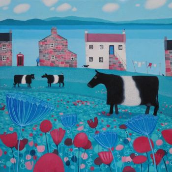 """Mooching an' Mooing"" Belted Galloway medium print from an original painting"