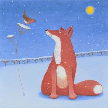 """Moonlit Stories"" Red fox and robin in the snow medium print"
