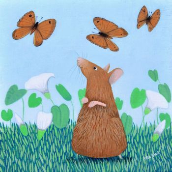 """Mousie Capers"" Mouse and Butterflies medium art print"