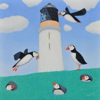 """Paradise of Puffins"" Medium print of puffins and a lighthouse"