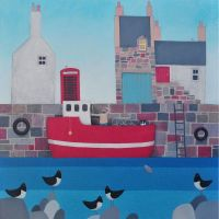 """""""Setting Sail"""" Coastal medium print of a harbour and boat about to sail"""